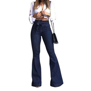 2020 Hot Sale High Waist Slim Wide Leg Denim Jeans Vintage Flare Pant Belted Stretchy Denim Trousers