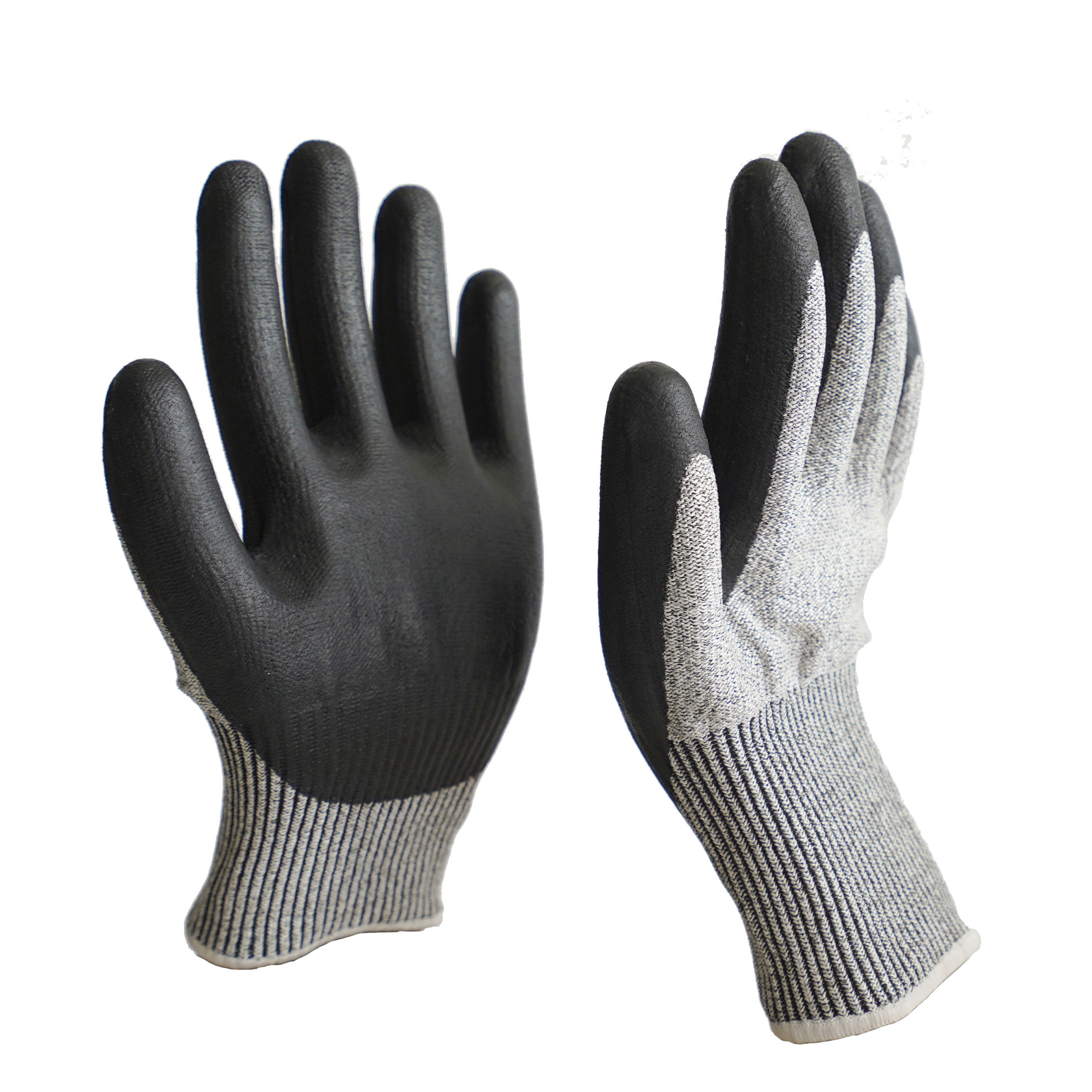 grey cut resistant hppe liner with black nitrile superfine foam coating hand protection work gloves