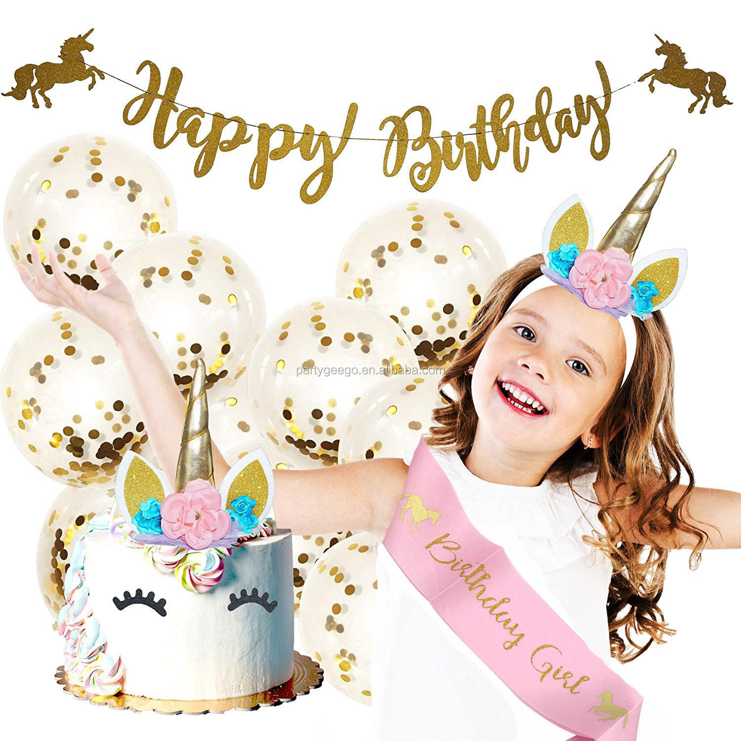 Unicorn Set With Happy Birthday Banner And Cake Toppers Unicorn Party Headband Supplies Party Decoration Birthday