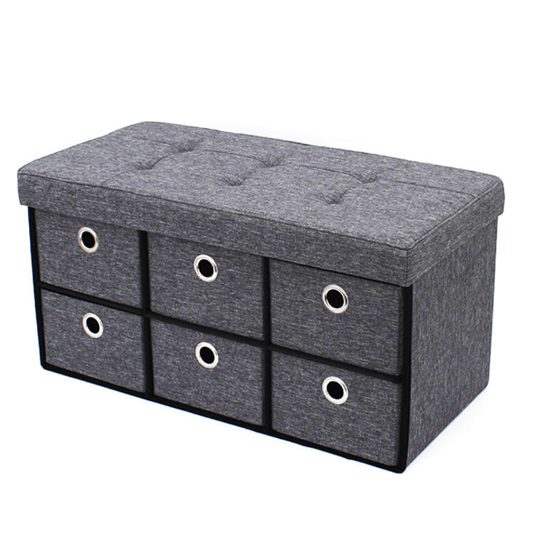 RTS best selling new fashion living room modern puff fabric ottoman folding stools drawer foot stool