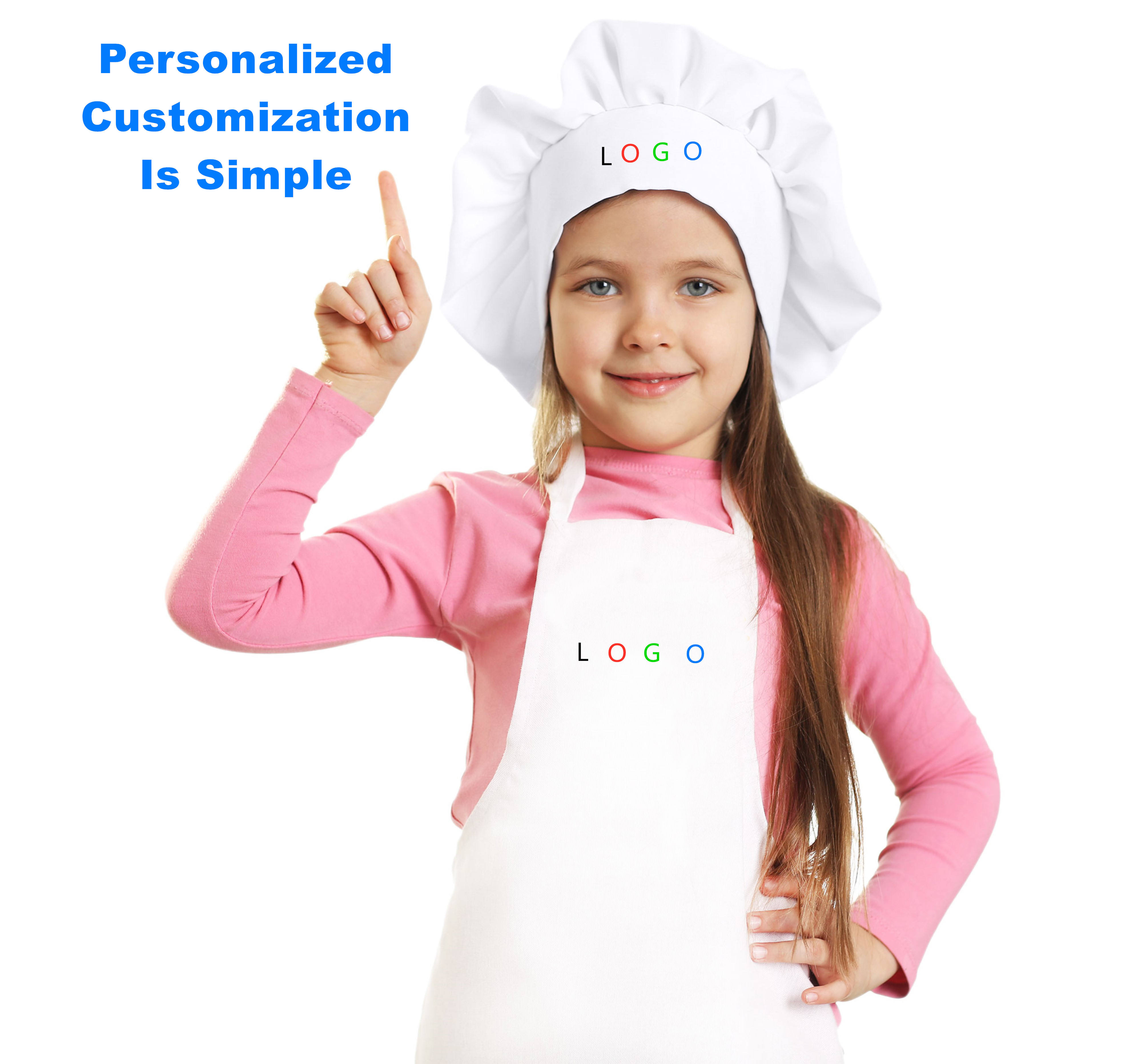 Made In China Cooking Customized Logo Apron For Child With Chef Hat