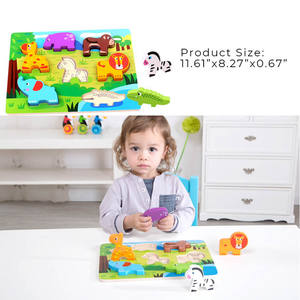 Baby Chunky Farm Animal Educational Game Toy 3D Wooden Puzzle