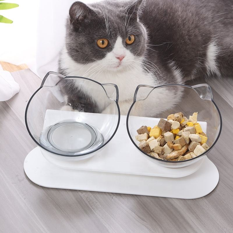Cute Design Elevated Pet Cats Dog Water Food Bowl Protect Cervical Spine