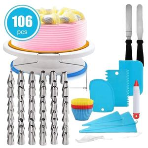 Hot Sale 106pcs/set Decorating Cake Tools Cake Stand Turntable Supplies Plastic Cake Stand