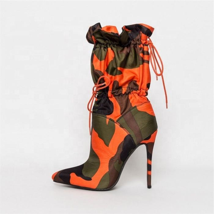 2020 Autumn New Camouflage Drawstring Strap Super High Heel Mid-Tube Boots Winter Fashion Pointed Stiletto High Heel Women Boots
