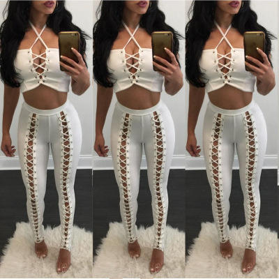LS201923 Wholesale cheap women pants casual hollow out lounge pants sexy bodycon fall sex trousers women