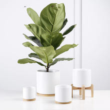 Elegant matt white glazed high Quality cylinder ceramic flower pot with bamboo bases