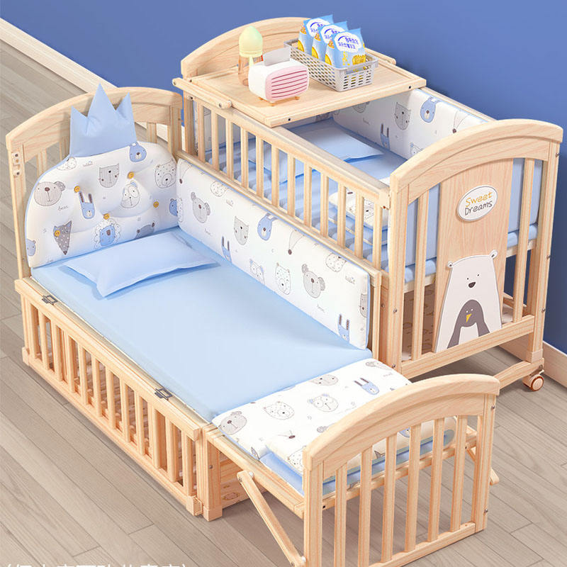 2018 New type full size baby solid wood pine twin cot bed,multifunctional twin baby bed crib