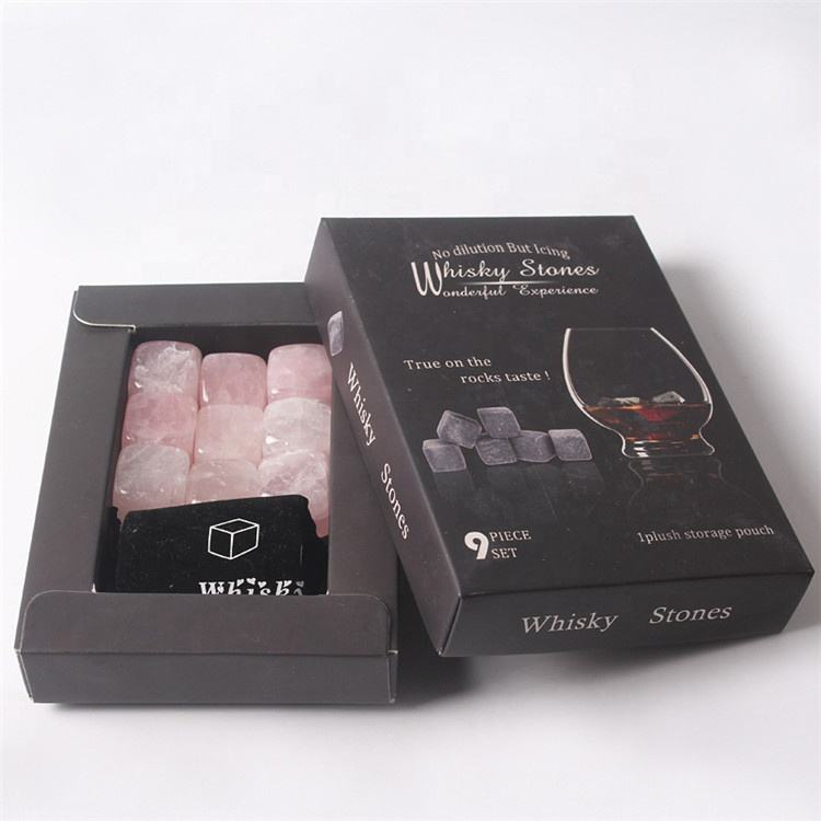 Natural gemstone dice ice cube rose crystal sipping stone whiskey stone