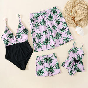 Family matching clothing swimwear beach wear for Mother Daughter Swimsuits Father Son Swim Shorts