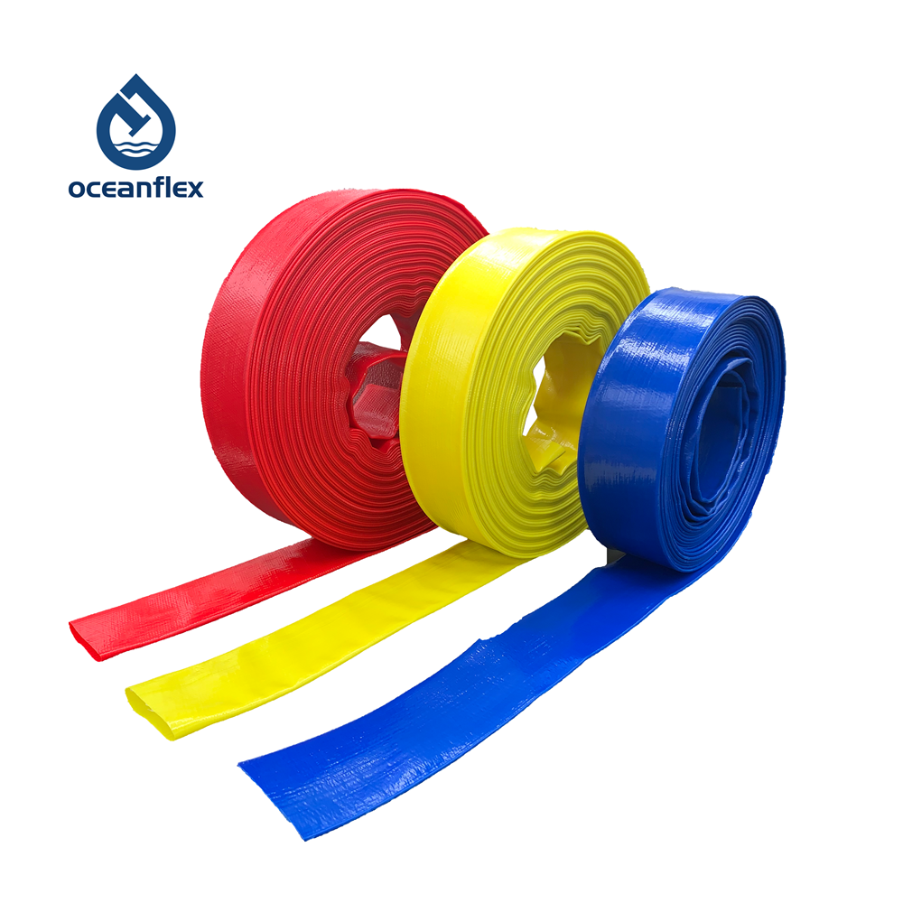 Red, yellow, blue, plastic coated hose