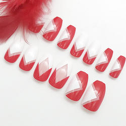 Wholesale press on full cover acrylic nails in stock coffin nail tips decorated fake nails