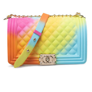 2020 Wholesale women handbags silicone/PVC shoulder handbag rainbow bag jelly candy purse