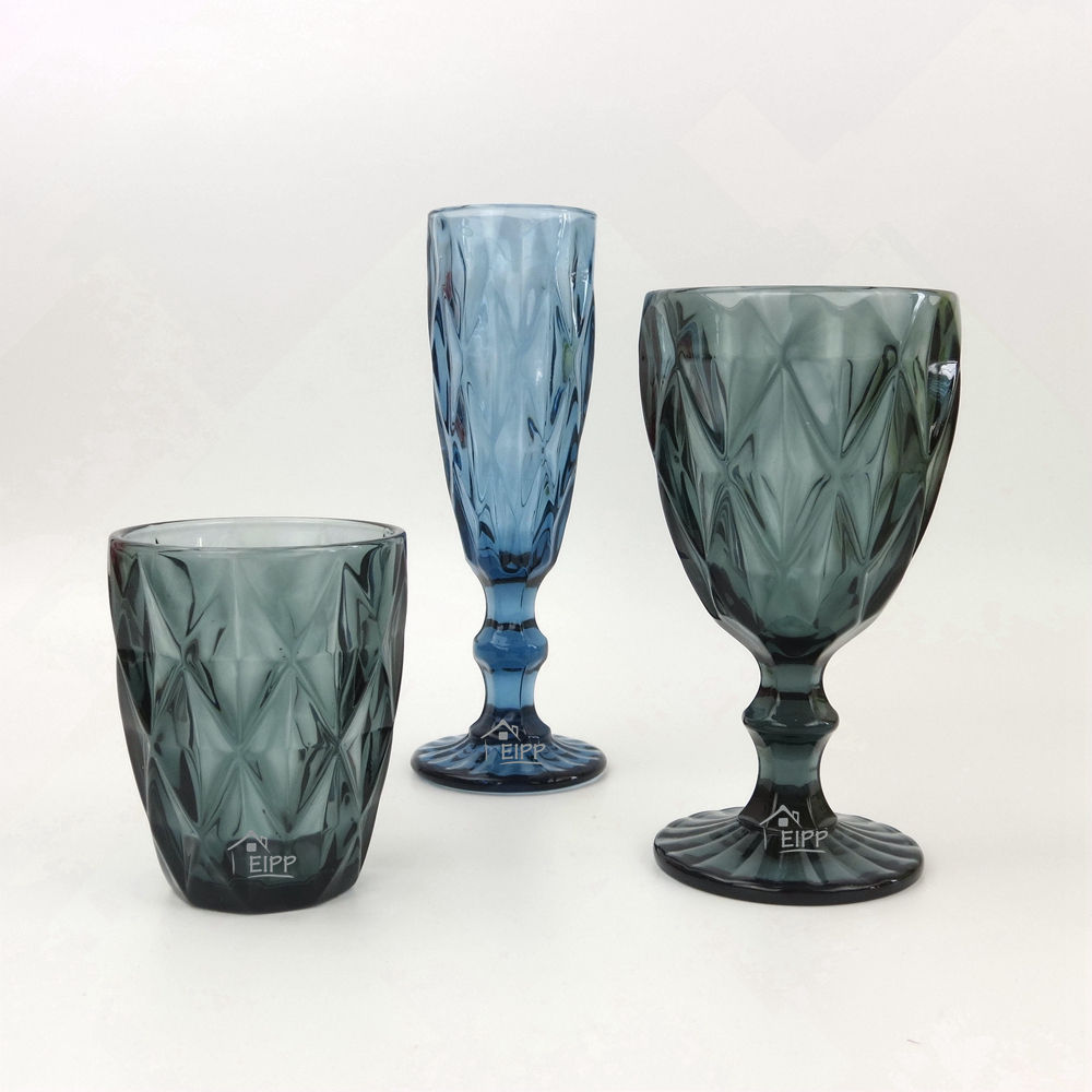 Wholesale Custom Machined Diamond Relief Colored Decoration Water Drinking Glasses Set