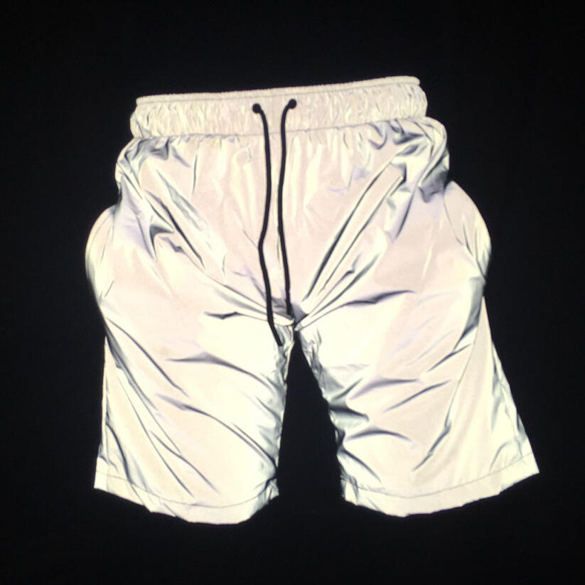 Hot style streetwear pants elastic waistband mens 3m sliver reflective shorts