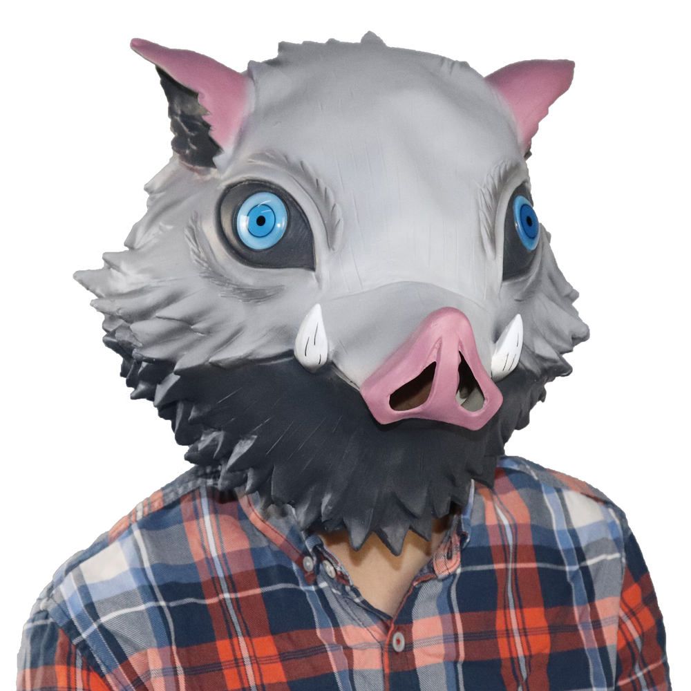 Demon Slayer Kimetsu Geen Yaiba Masker Cospaly <span class=keywords><strong>Anime</strong></span> Hashibira Inosuke Maskers Wild Boar Pig Head Latex Helm Halloween Party Props