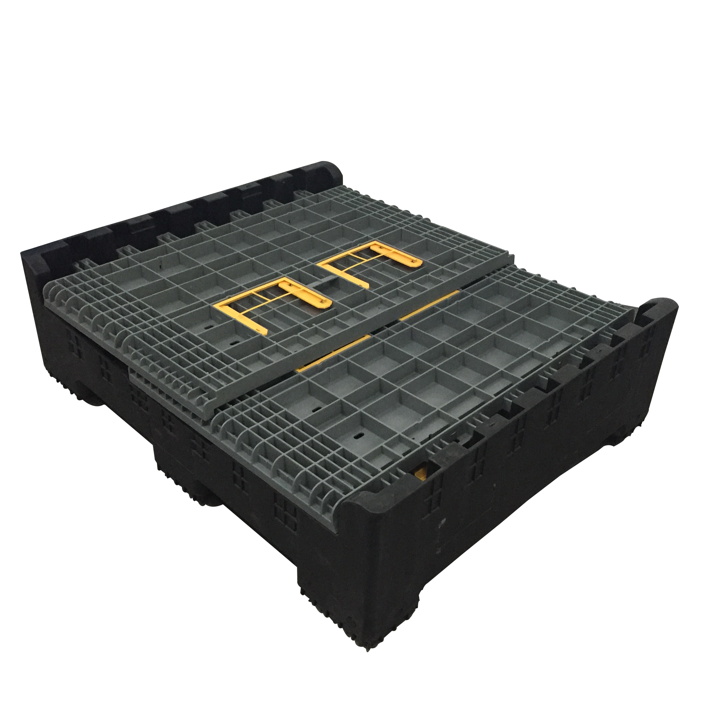 Collapsible plastic pallet container with lid