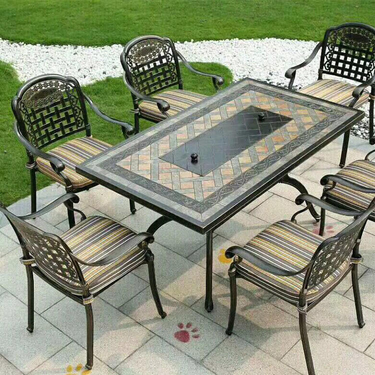 Classic Hot Sale Cast Aluminum Outdoor Patio Garden Furniture Table Set BBQ table