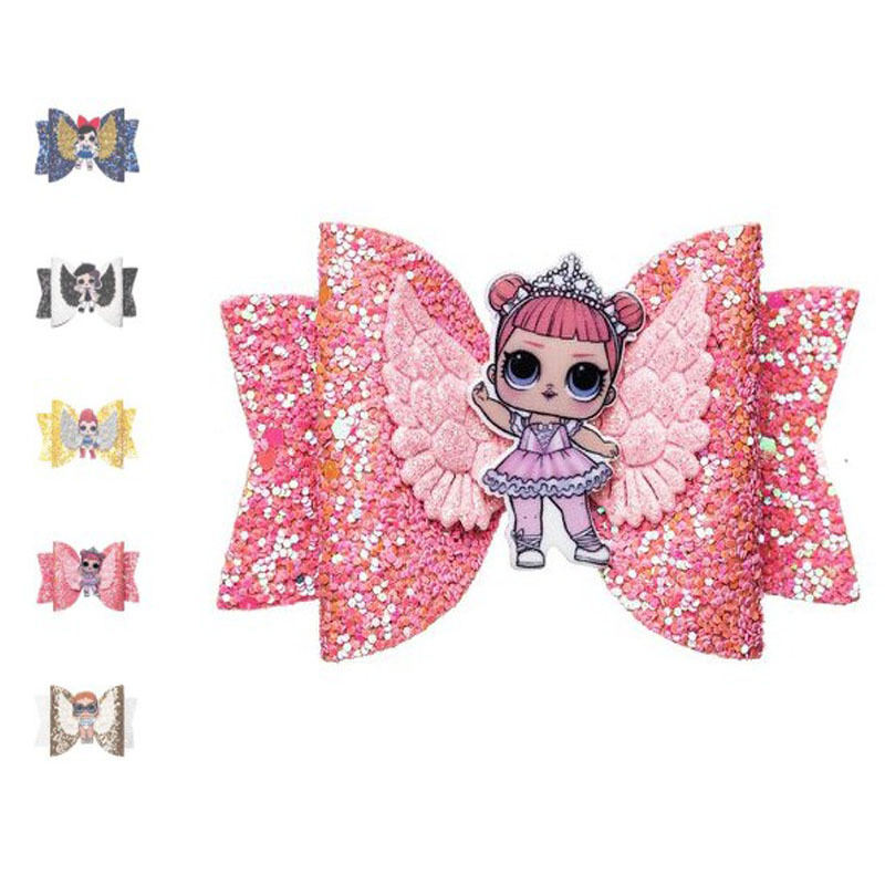 Cartoon Doll Glitter Hair Bows Accessories Clips Sequin Hair Knot Fabric Bow Clip For Children