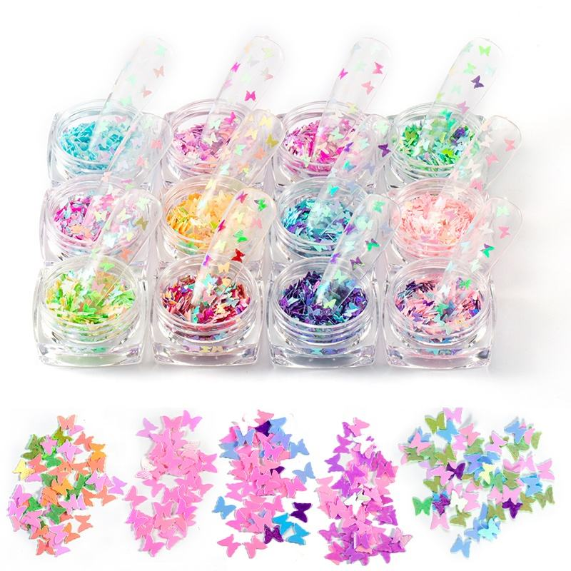 Decals Manicure 3D Nail Art Flakes Colorful Confetti Sticker Butterfly Glitter Nail Sequins Foil
