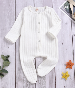 Newborn Baby long sleeve Boy Girl Solid Patched back Cute Knitted Footed Bodysuit for Infant 0-1 years rompers