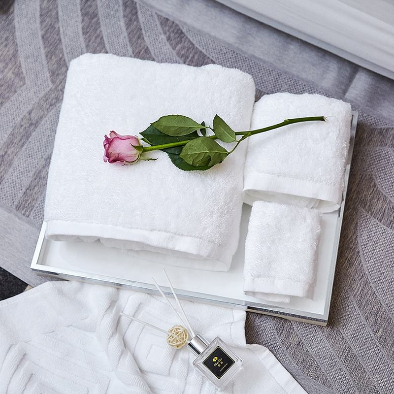Hot sale white towel sets hign quality hotel bath towel face towel for spa