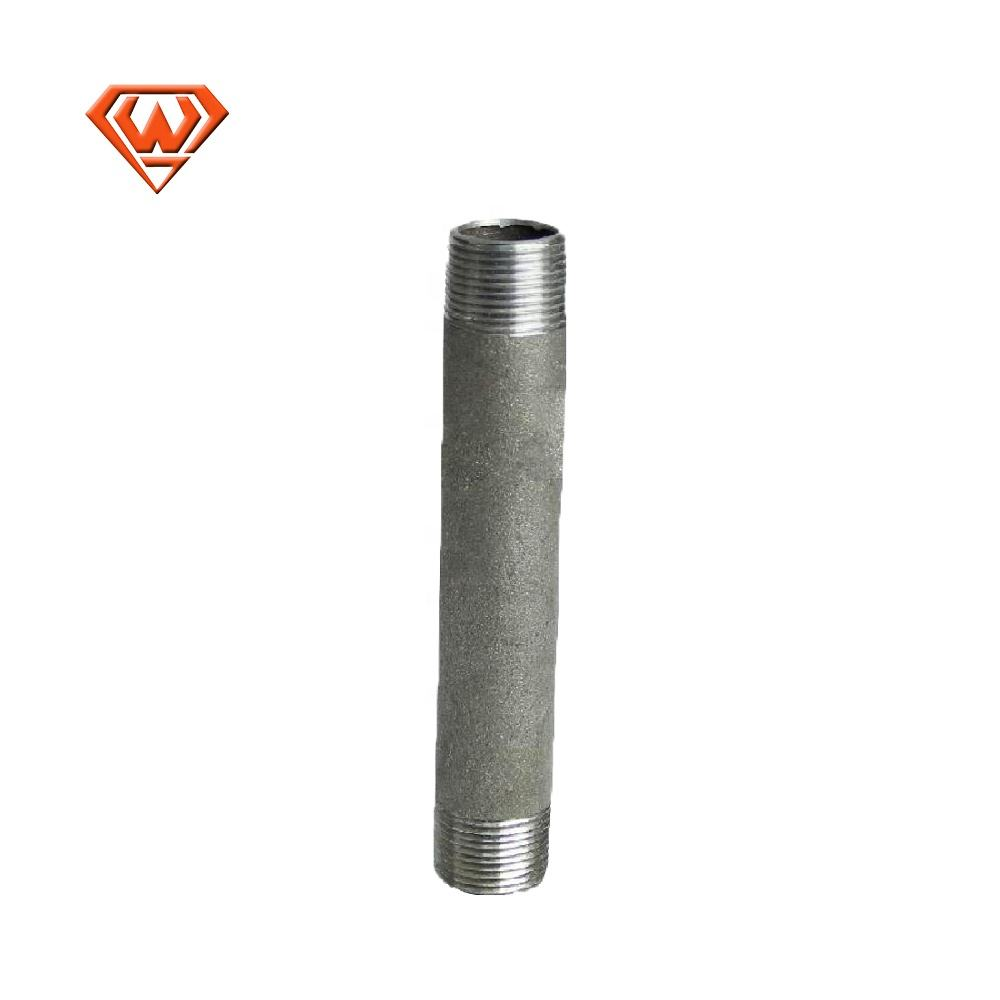 long thread black galvanized carbon steel pipe nipple connector