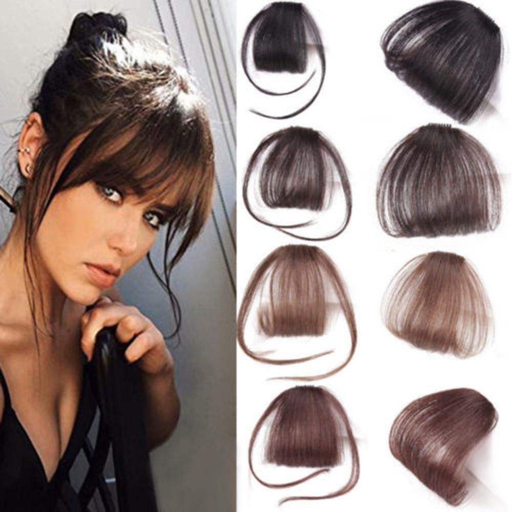 Human Hair Extension Neat Women Hair Pieces Different Color Bangs Fringe Clip in Hair Extensions