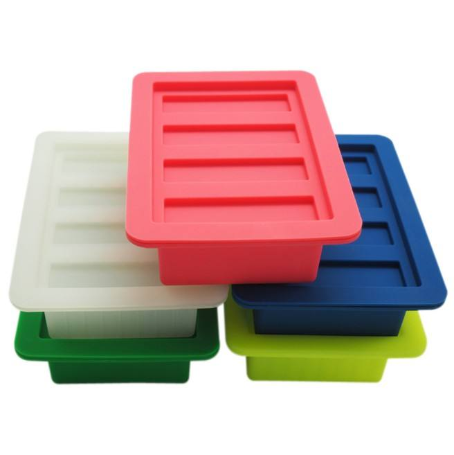 The Butter Maker with Lid Storage Jar Large 4 Cavities Rectangle Container Silicone Butter Mould