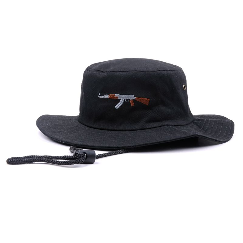Wholesale small order plain wide brim designer bucket hats for men