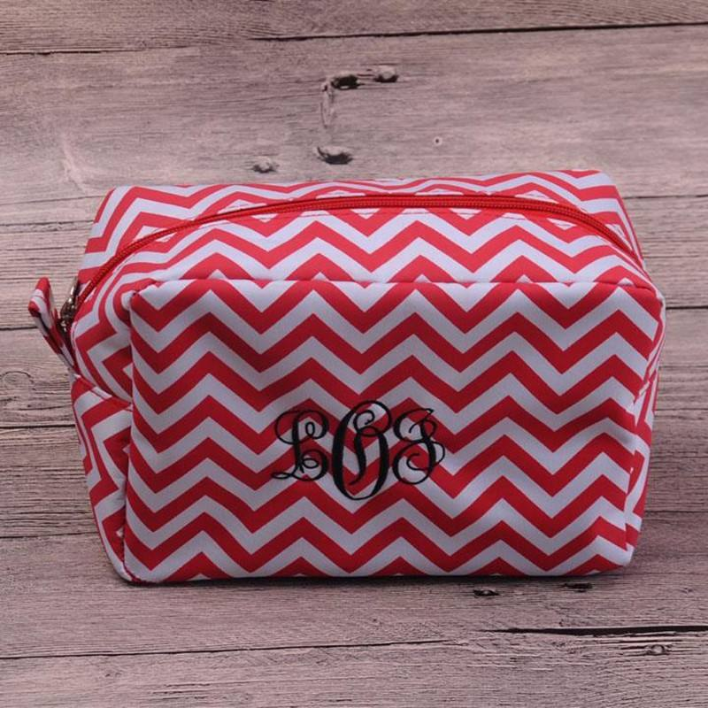 11 Colors Microfiber Chevron Cosmetic Bags and Cases Zipper Closure Bridesmaid And Graduation Great Gifts Ships in 24 hours