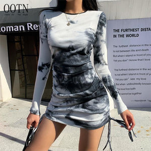 OOTN Autumn Bodycon Mini Dress Women Long Sleeve O Neck Sexy Party Dress Lace Up Bow Ruched Knitted Elastic Women Tie Dye Dress