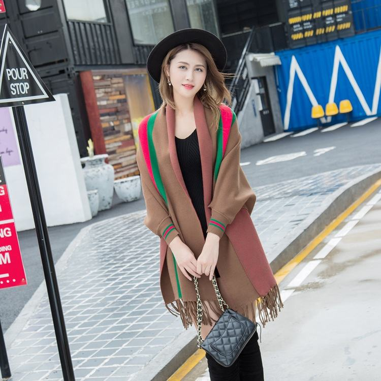 Poncho with Tassels Coffee Ladies Winter Scarf and Shawl Pashmina Woman Stripe Wool Blend Scarf Shawl