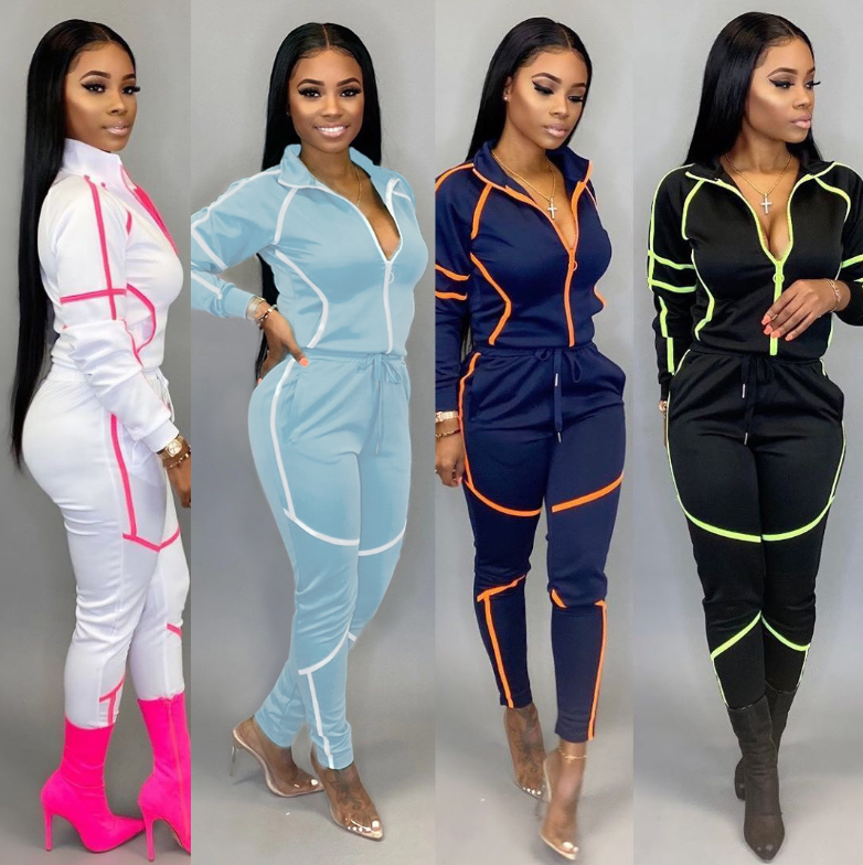 2020 Ladies Skinny sweatsuit tracksuits set for women joggers sportswear track yoga stitching suit tracksuits for women