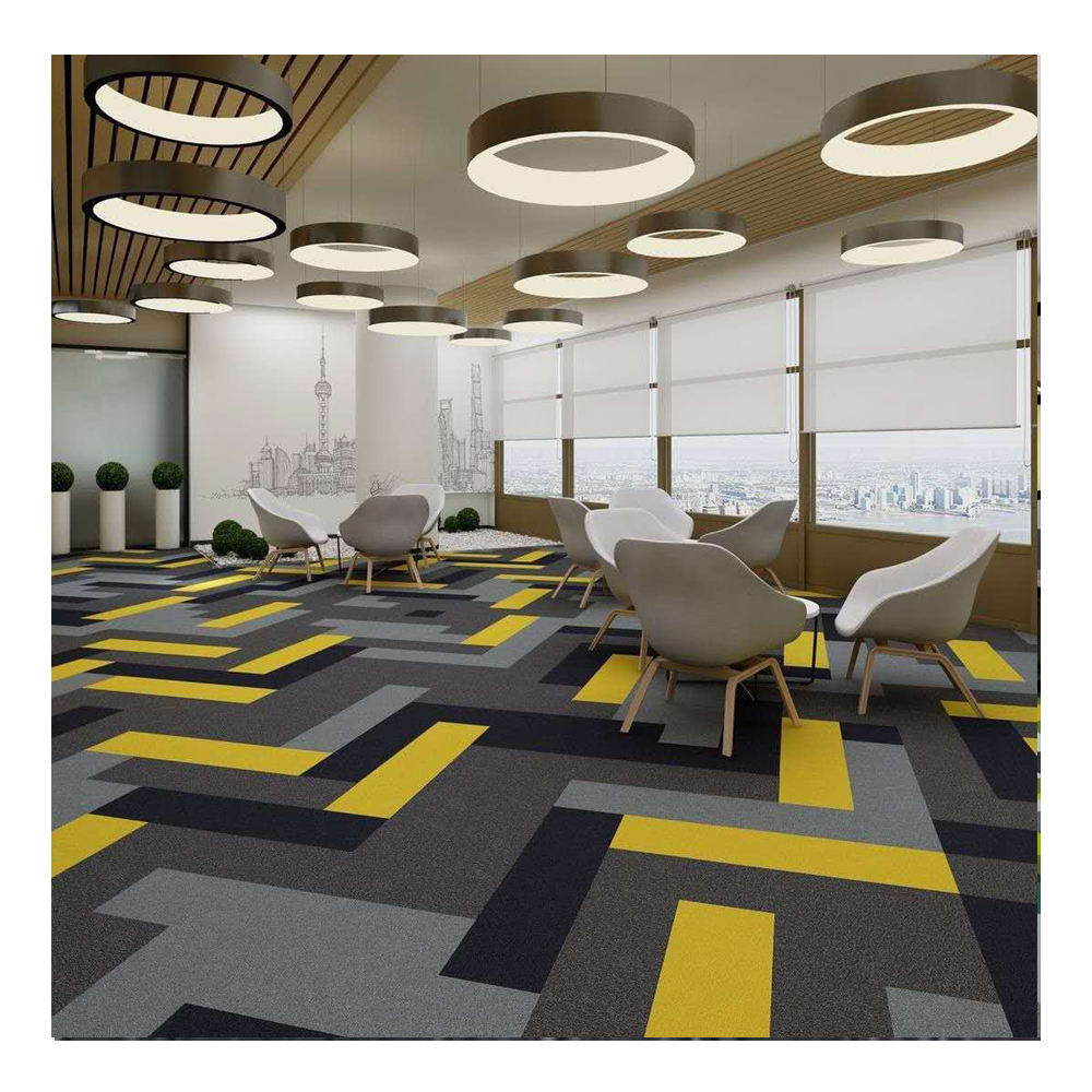 Modern designed commercial office hotel nylon carpet tiles, Elegant design carpet tiles, office and school printed carpet tiles