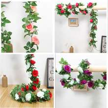 2020 hot sale 9 heads  artificial flower rose vine for home wedding decoration