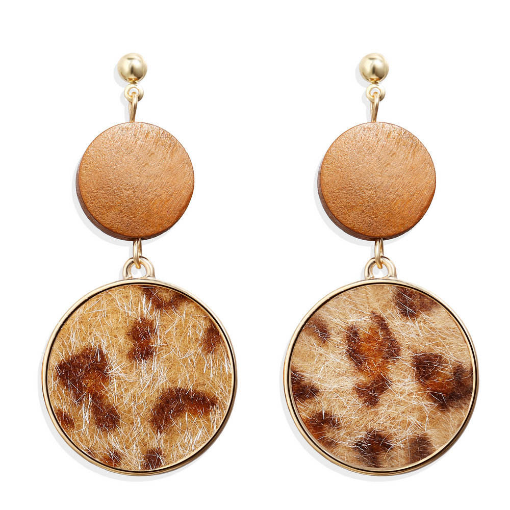 VRIUA Women Big Geometric Round Square Earrings Boho Brown Leopard Drop Dangle Pendientes Earrings For Women Jewelry