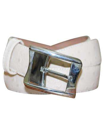white customized leather jeans belt