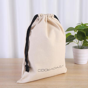 Printed Canvas Drawstring Jewelry Pouches Bag with Cotton Rope