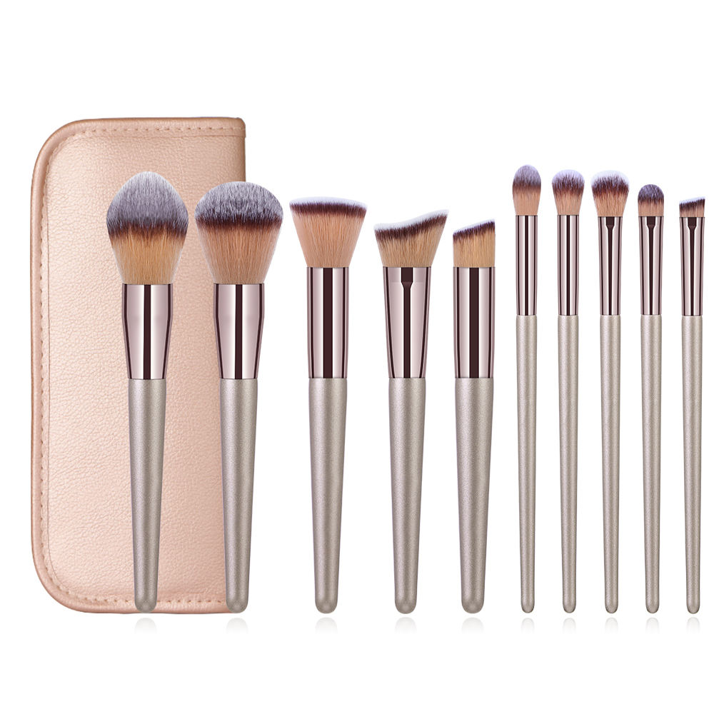 Banfi 10pieces brush set Champagne makeup brush with wooden handle pu leather bag 10 piece professional makeup brush sets