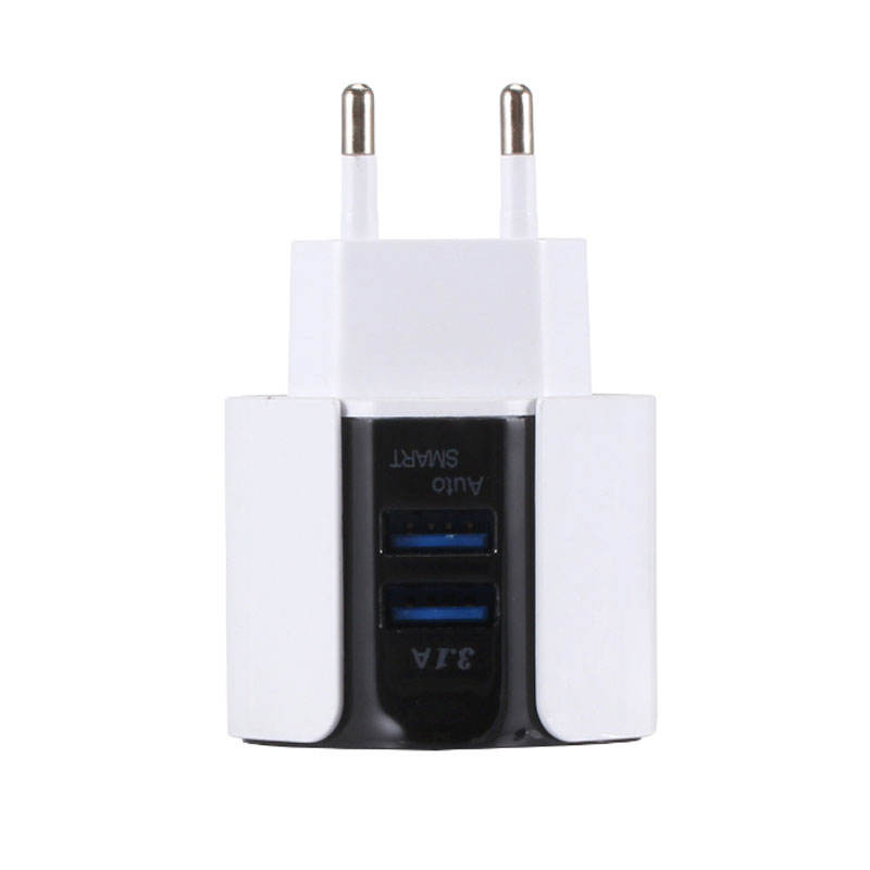2019 New Delicate Design 5V 2.4A 2 Port White Wall Charger Dual LED USB Charger for All USB Devices EU Plug Charger