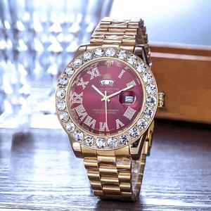 24 Jam Online Tonton Crystal Square Dial Watch Mens Berlian Watch