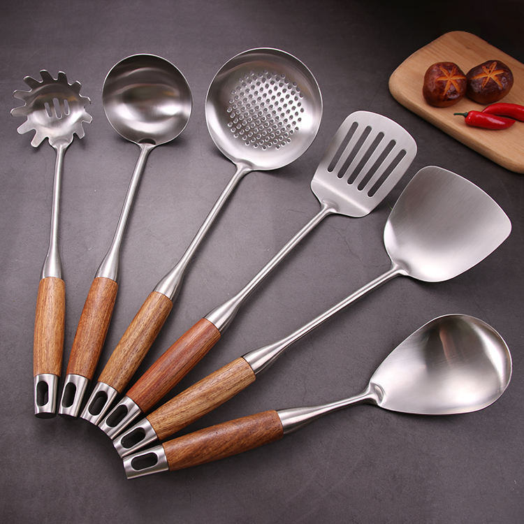Chinese Cooking Accessories Tools Wooden Utensils Stainless Steel Kitchen Tool Set