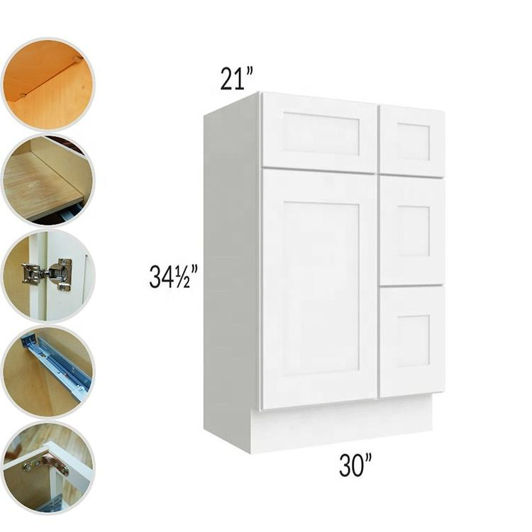 Ready To Assemble White Solid Wood Bathroom Vanity 30 Inch Cabinet