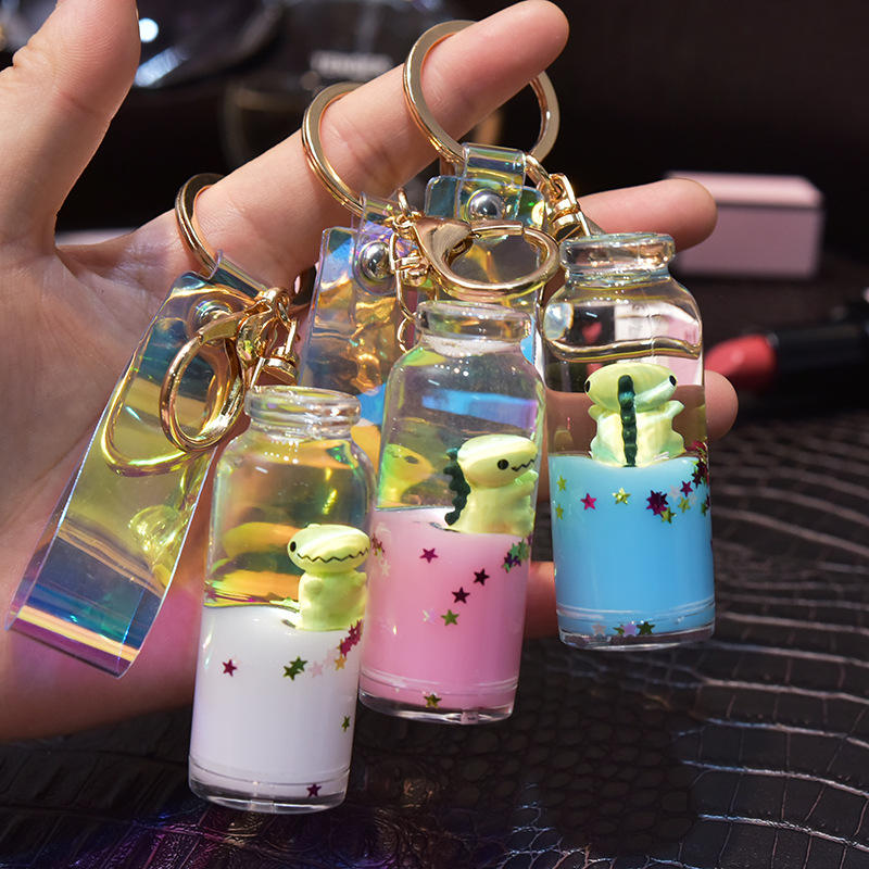 Cute girl gift floating fruit bottle key chain creative water world animal quicksand acrylic keychains for bag pendant