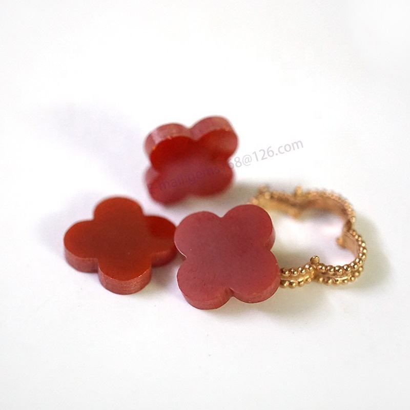 Add weight Red agate cubic zirconia Four Leaf Clover Coral Red loose gemstone CZ stone