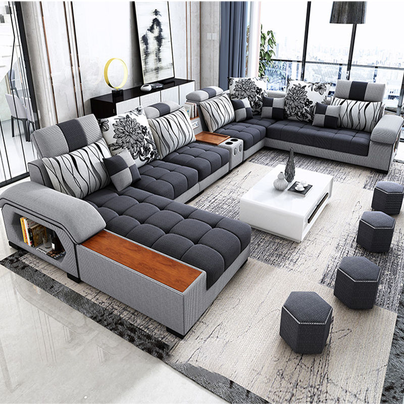 Commercial home furniture European style sectional sofa l shaped lobby fabric grey jute la z boy reclining sofa velvet sofa set