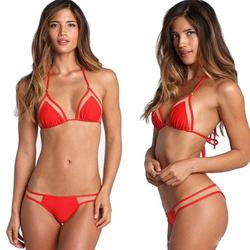 Promotion hot sale western uk australia america fast delivery beads accessories fitted tied neck mesh bikini swimwear
