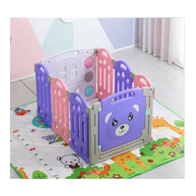 2021 hot kindergarten or home furniture indoor colorful plastic baby fence playpen