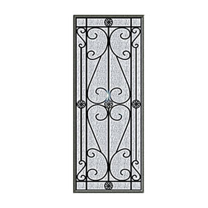 New Design Black Images Double Tempered Palette Art Wrought Iron Door Glass